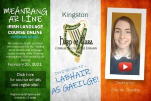 Intermediate Irish Language Course Online starts Feb 25th